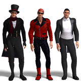 Three different outfits: Dandy, Biker, Formal Stock Photos