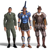 Three different outfits: Gentleman, Roman, Romeo Stock Photography