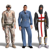 Three different outfits: Soldier, RAF, Knight Royalty Free Stock Photos