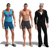 Three different outfits: Surfer, Swimmer, Sailor. Same man in three different costumes: Surfer, Underwear, Sailor. Mix'n'Match. With clipping path and shadow Royalty Free Stock Photos