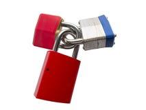 Three different padlocks Stock Image