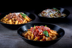Three different pasta Royalty Free Stock Photo
