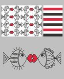 Three different patterns royalty free illustration