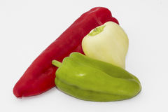 Three different peppers isolated on white background Royalty Free Stock Image