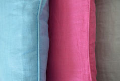 Three different pillows detail Stock Photography