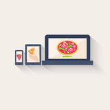 Three different pizza icons displayed online Stock Photography