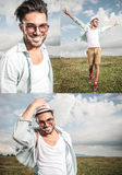 Three different poses of the same  man in the outdoors Stock Photography