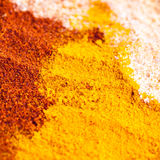 Three different powdered spices Stock Photography