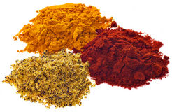 Three different powdered spices on a white backgro Royalty Free Stock Photos