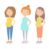 Three different pregnant girls. Royalty Free Stock Photography