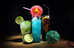 Three different, refreshing cocktails Stock Image