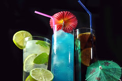 Three different refreshing cocktails Stock Images