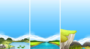 Three different scenes of water Stock Photo