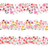 Three different seamless pattern brushes with flowers. Endless texture. Royalty Free Stock Photo