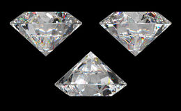 Three different side views of large diamond Stock Image