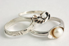 Three different silver rings. Closeup view of  three different silver rings Royalty Free Stock Image
