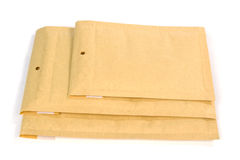 Three different size bubble lined shipping or packing envelopes Stock Images