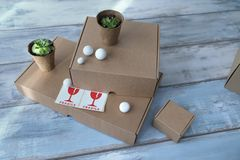 Three different size carton boxes and two pots with green plants and fragile signs Horizontal shot stock photo