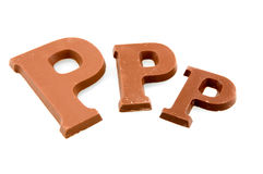 Three different sizes of chocolate letters. Three different sizes of chocolate letter P isolated on white background Stock Photo
