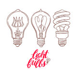 Three different sketch bulbs Royalty Free Stock Photos