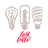 Three different sketch bulbs Stock Image