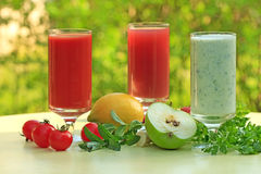 Three different smoothies royalty free stock photography