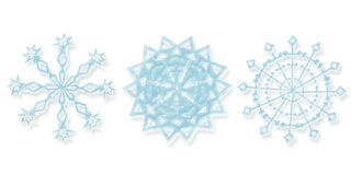 Three different snowflakes. Computer generated illustration of snowflakes Stock Photo