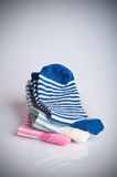 Three different sock pairs, stacked Stock Photo