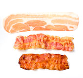 Three different stages of bacon Stock Photos
