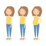 Three different stages of pregnancy. Vector hand drawn cartoon character stock illustration