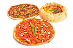 Three different Stye pizzas Stock Photo