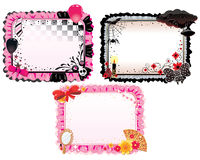 Three different style banners. Pink for glam style, black for gothic and mixed for emo style Stock Photos