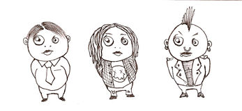 Three Different Styles. Comparative drawing/ normal alternative and extreme Stock Image