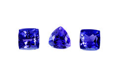 Three Different Tanzanite Stones Stock Photos