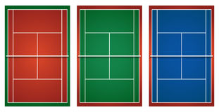 Three different tennis courts Stock Photo