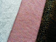 Three different textures of fabric stock photo