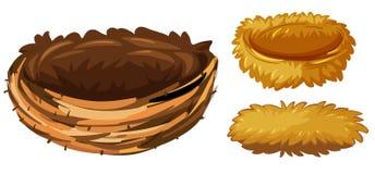 Three different types of bird nests vector illustration