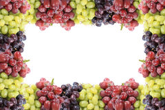 Three different types of grapes border or frame Royalty Free Stock Photo