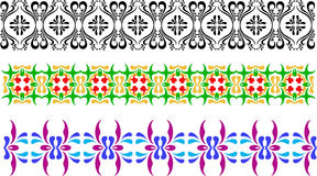 Three different types of ornament, black and white, green yellow and violet blue. Flowery patterns in vector Stock Image