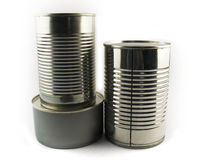 Three Different Types of Tin Can for Food Stock Image