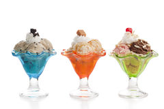 Three different variant of ice creams. Image of three different variant of ice creams against white background Royalty Free Stock Photography