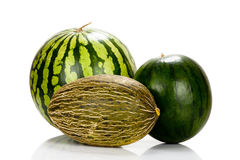 Three Different varieties of melons Stock Photos