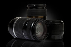 Three digital lenses Stock Image