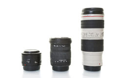 Three digital lenses for DSLR cameras Royalty Free Stock Photography