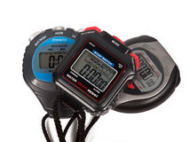 Three digital stop watches Royalty Free Stock Photography