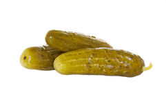 Three Dill Pickles Isolated Royalty Free Stock Images