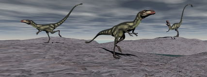 Three dilong dinosaur - 3d render Royalty Free Stock Photography