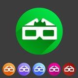 Three-dimencional玻璃彩色立体图电影象平的网标志标志商标标号组 免版税库存图片