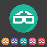 Three-dimencional glasses anaglyph movie icon flat web sign symbol logo label set Royalty Free Stock Photography