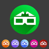 Three-dimencional glasses anaglyph movie icon flat web sign symbol logo label set Royalty Free Stock Images